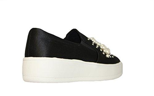 Soda If13 Femmes Classique Panneau Élastique Slip Sur Couture Sneaker Mode Noir * R