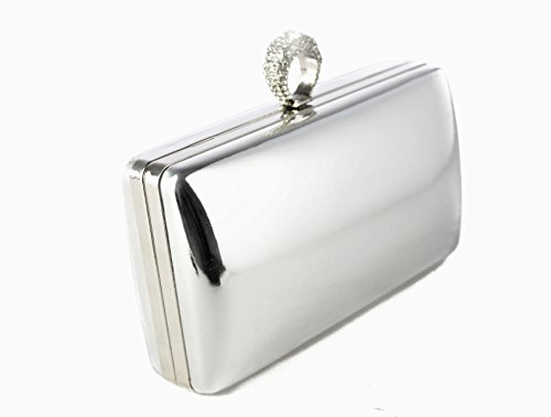 19 Bag Shiny Crystals Silver Evening Prom Foxlady Bag Silver Party Women's Sparkling Wedding Clutch Diamante AXxY6X