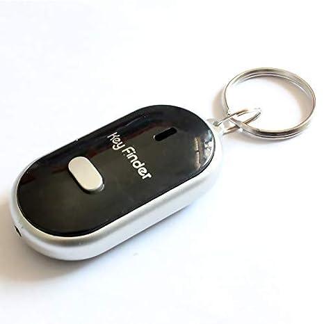 Lanbowo LED Buscador de Llaves Localizador Encontrar Lost Llaves Cadena Llavero Silbato Sonido Control - Negro
