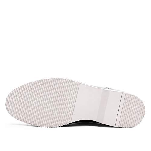 para Alto Black con EU Yao cuña de Casuales Zapatos de 40 Hombres para Color Grado Zapatos Cuero Size Hombres de Comercial Zapatos Oxford Departamento Blanco 1SF8I