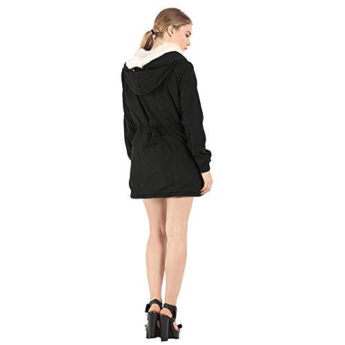 Algodón Malloom La Abajo El Collar Decoración Del Piel Invierno Cuerpo Espesa Abrigo Que Chaqueta Femenina Acolchada Capa Negro De TwOrf0qT