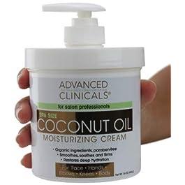 Advanced Clinicals Coconut Oil Cream. Spa size 16oz Moisturizing Cream. Coconut Oil for Face, Hands, Hair. (16oz)