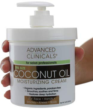 Advanced Clinicals Coconut Oil Cream. Spa size 16oz Moisturizing Cream. Coconut Oil for Face, Hands, Hair. (16oz)