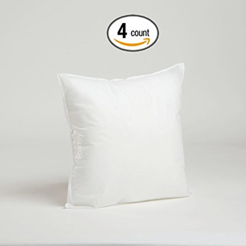 Foamily Set of 4 Premium Hypoallergenic Stuffer Pillow Insert Sham Square Form Polyester, 16