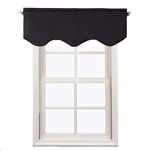 (Aquazolax Kitchen Valances for Windows Readymade Blackout Window Scalloped Valance Curtains, 52inch by 18inch, Black, 1 Piece)