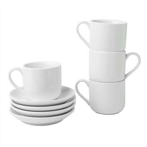 4oz. Espresso Cups Set of 4 With Matching Saucers - Premium White Porcelain, 8 Piece Gift Box Demitasse Set - Italian Caffè Mugs, Turkish Coffee Cup - Lungo Shots, Dopio Double Shot