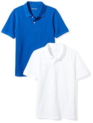 (Amazon Essentials Little Boys' Uniform Pique Polo, Blue/Bright White, S (6-7))