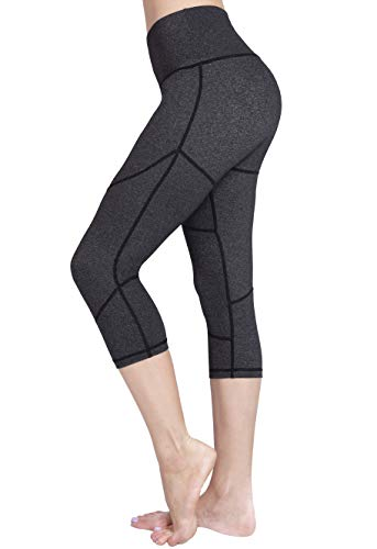 (Raypose Women's Workout Running Capris Leggings w Pocket Tummy Control Non See-Through 4-Way Stretch High Waist compreesion Yoga Pants for Fitness)