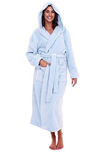 Del Rossa Women's Fleece Robe, Long Hooded Bathrobe, 1X 2X Light Blue (A0116LBL2X)