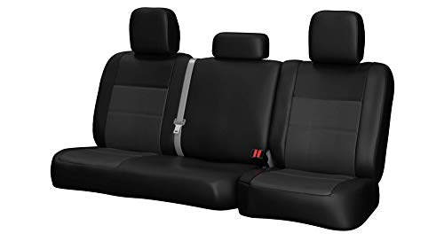 Rear SEAT: ShearComfort Custom Sof-Touch Imitation Leather Seat Covers for Honda Civic (1992-1995) in Black w/Charcoal for 50/50 Split Back Solid Bottom