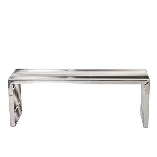 Modway Medium Gridiron Stainless Steel Bench (Bench Steel Outdoor)