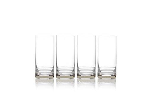 Mikasa Lux Platinum Highball Glass, 17-Ounce, Set of 4