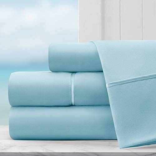 Coastal Comfort Egyptian Luxury Hotel Collection Bed Sheet Set - Hotel Quality Ultra Soft Double Brushed Microfiber Sheets with Deep Pocket - Hypoallergenic - Twin - Sky Blue