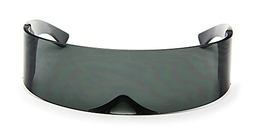 Futuristic Cyclops Sunglasses Wrap Around Shield Monoblock 100% ()