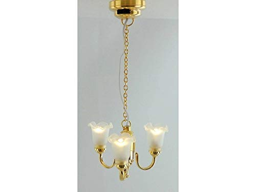 Melody Jane Dolls Houses House Miniature Led Battery 3 Arm Frosted Tulip Up Light Chandelier Lamp