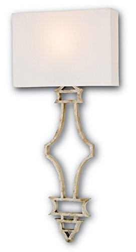 Currey and Company 5173 Eternity - One Light Wall Sconce, Silver Granello Finish with Off White Shantung Shade by Currey and Company (Image #1)