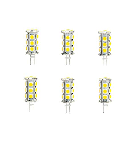 6 Pack G4 GX4 Bi Pin Tower LED Capsule Light Cluster Bulb AC DC 12V 24V 2-Pin Fitting Lamps Replacement for 10W JC Halogen Spot Lamp Bulbs of Vehicle & Any Low Volt Lighting System, Warm White, 3.5W ()
