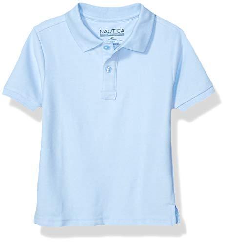 (Nautica Little Boys' Uniform Short Sleeve Pique Polo, Light Blue, Small/4)