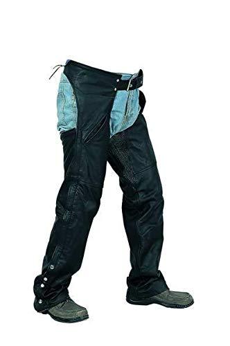 Motorcycle Pants Leather Chaps (Bikers Leather - Unisex black leather men's ladies motorcycle biker chaps, Pants (924) -2X-Large)