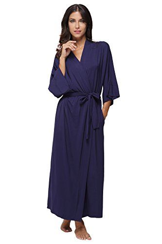 KimonoDeals Women's Soft Sleepwear Modal Cotton Wrap Robe Long, Navy