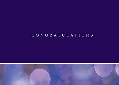 Congratulations Greeting Cards - C9002. Business Greeting Card Featuring Congratulations on a Purple Background and Graphic Circles. Box Set Has 25 Greeting Cards and 26 Bright White Envelopes.