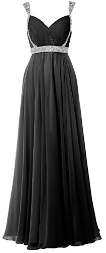 Elegant Formal Straps Prom Long Dress 2018 Evening V Gown Schwarz MACloth Neck Chiffon d1Tq1Oa