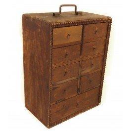 Tramp Folk Art - Taunton Wire Nail Co. Antique Wooden Crate Folk Tramp Art Primitive Cabinet