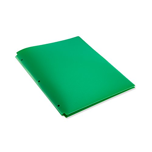 2 Pocket Letter Size Poly File Portfolio Folder with 3-Hole Punch - 12 Pack (Green)