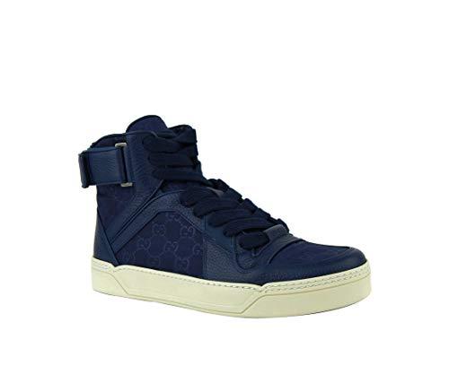 Gucci Men's Nylon Guccissima High-Top Sneaker, Blue 409766 (10 US / 9.5 ()