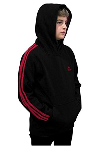 Outerstuff adidas Youth Fleece Collection (Youth Small 8, Fleece Pullover Hoodie, Black/Scarlet) by Outerstuff