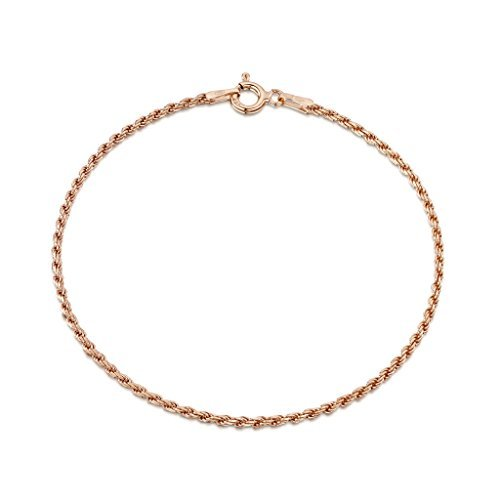 - 14K Rose Gold Plated on 925 Sterling Silver 1.5 mm French Rope Chain Bracelet Length 7