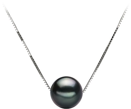 14k White Gold Double Pearl (PearlsOnly - Kristine Black 8-9mm AA Quality Tahitian 14K White Gold Cultured Pearl Pendant)