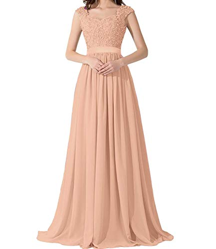 PromQueen Prom Dress Chiffon Sequin Pageant Party Dress Elegant Cap Sleeve Bridesmaid Gowns Sweetheart
