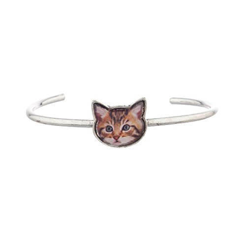 Lux Accessories Burnish Silver Cat Face Kitten Meow Delicate Cuff Bracelet