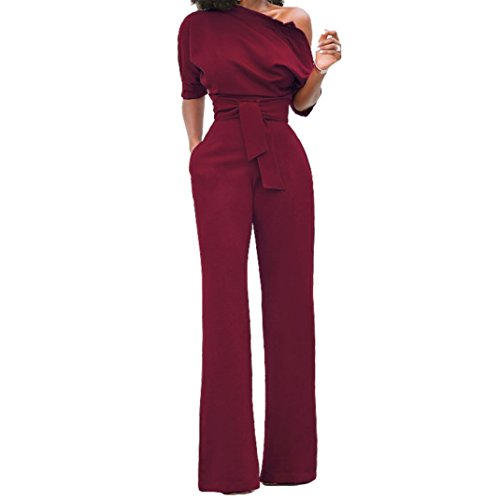 Sale Leisure For Suits (Holify Women's Elegant Half Sleeve Off the Shoulder Jumpsuits High Waist Romper with)