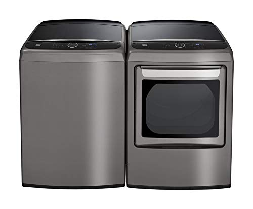 Kenmore Elite Front Load 7.3 cu. ft. Smart Gas Washer and  Dryer Bundle with Steam Refresh – Metallic Silver