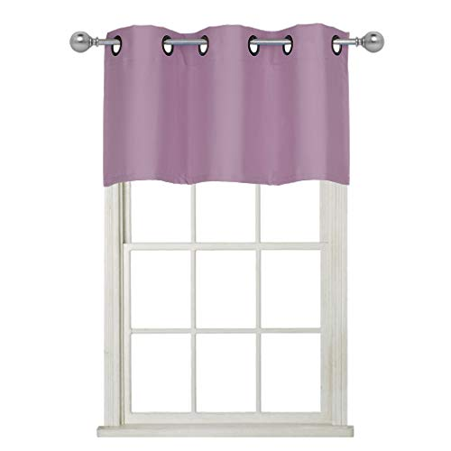 Lilac Window - Home Queen Grommet Top Blackout Curtain Valance Window Treatment for Living Room, Short Straight Drape Valance, Set of 1, 37 X 18 Inch, Lilac