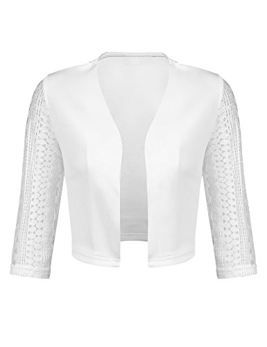 Concep Women's Casual Lace Cropped Bolero Shrug 3/4 Sleeve Work Open Blazer Tops (White, XXL)