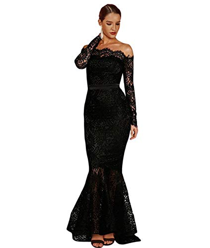 LALAGEN Women's Floral Lace Long Sleeve Off Shoulder Wedding Mermaid Dress Eyelash L Black