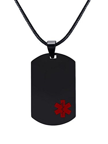 PJ Jewelry Personalized Engraved Men's Medical Alert Allergy Awareness Dog Tag Necklace in Stainless Steel,20