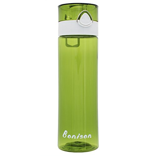 21 OZ Newest Design Sports Water Bottle Plastic Exceptional Durability Tritan Leak Proof Flip Top Double Locking Lid Handle for School Running Gym Yoga with Cleaning Brush - Green
