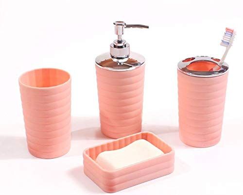 Coral Wastebasket - Mainstay Kylie 4 Piece Bath Accessory Set in Coral