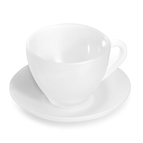 BergHOFF Studio Frosted Tea Cup and Saucer Set 8-Pieces, White