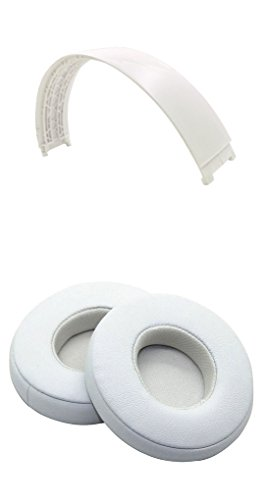 Studio 2.0 Earpads Headband Replacement Ear Cushion Top Band For Beats Studio Wireless Over-Ear Headphones (White Headband + White Cushion)