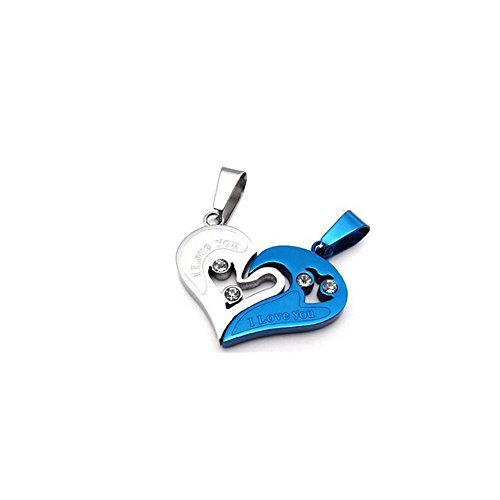 Diamond Titanium Necklace (Huhuniu® Couples Split Diamond Heart-shaped Necklace I Love You Titanium Steel Necklace)