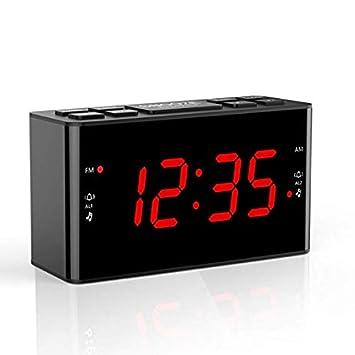 KUNCC Radio Reloj Digital, alarmas duales multifuncionales Radio Reloj con Radio Am/FM y Temporizador de Apagado, Pantalla Grande LED,Red: Amazon.es: ...