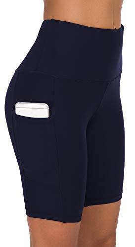 Custer's Night Yoga Pants High-Waist Tummy Control with Side & Hidden Pocket Navy Blue L