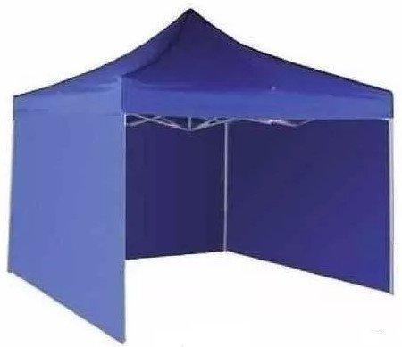Toldo Plegable 3 x 3 Carpa de Lona Impermeable y Acero Para Exterior con Paredes Azul