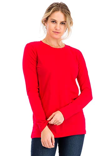 Casual Cotton Crew Neck Long Sleeve T-Shirt Top Ruby M - Tee Neck Solid Crew