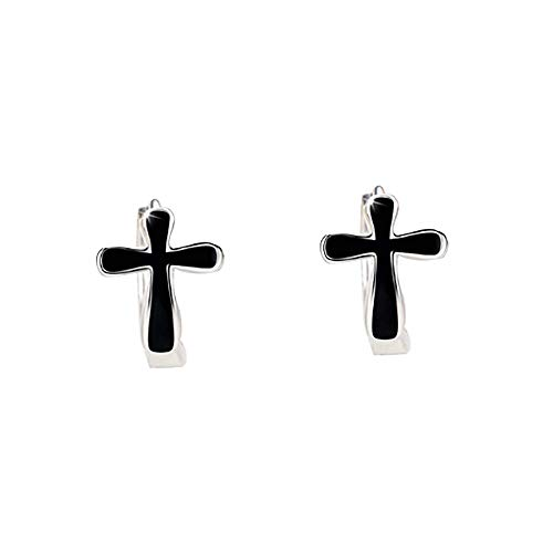 ZZKJYQR Dangle Cross Earrings Woman Sterling Silver Realigious Drop-Prevent Allergies,Palace Style,Baroque,Retro Ear Jewelry,Black